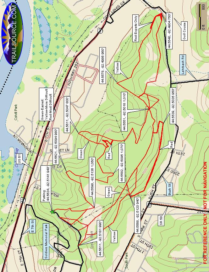 Memorial Bluff Mountain Biking Map