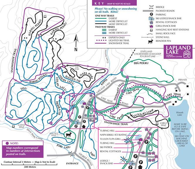 Lapland Lake Nordic Ski Center Cross Country Skiing Map
