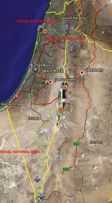 Israel National Trails Hiking Map