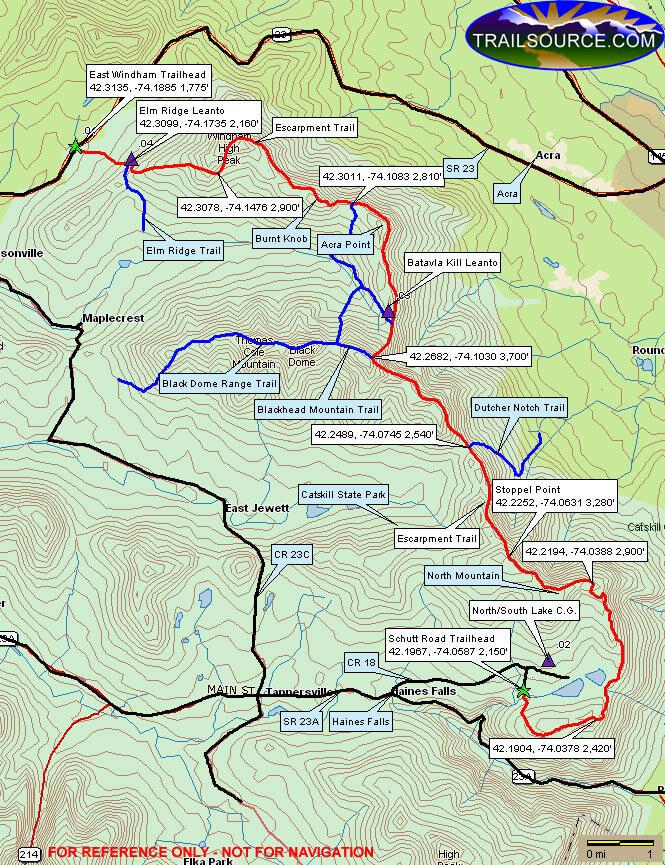 Escarpment Trail Hiking Map