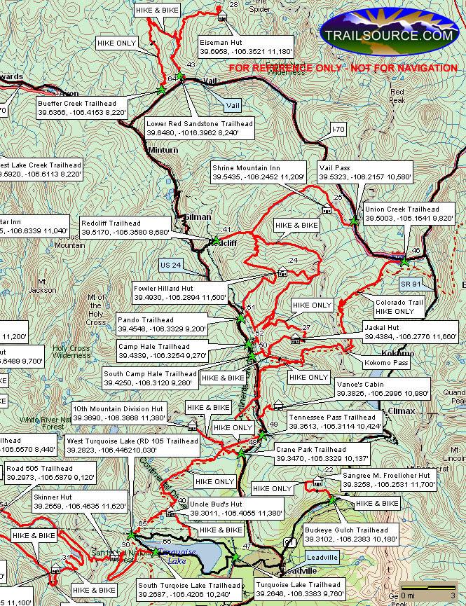 10th Mountain Huts - East Mountain Biking Map