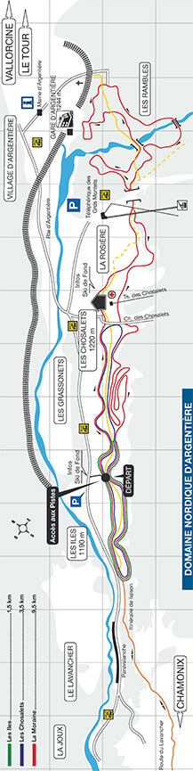 Domaine Nordique D Argentiere Cross Country Skiing Map