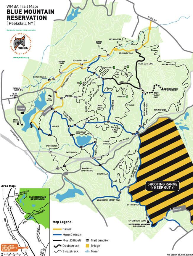 Blue Mountain Reserve Mountain Biking Map
