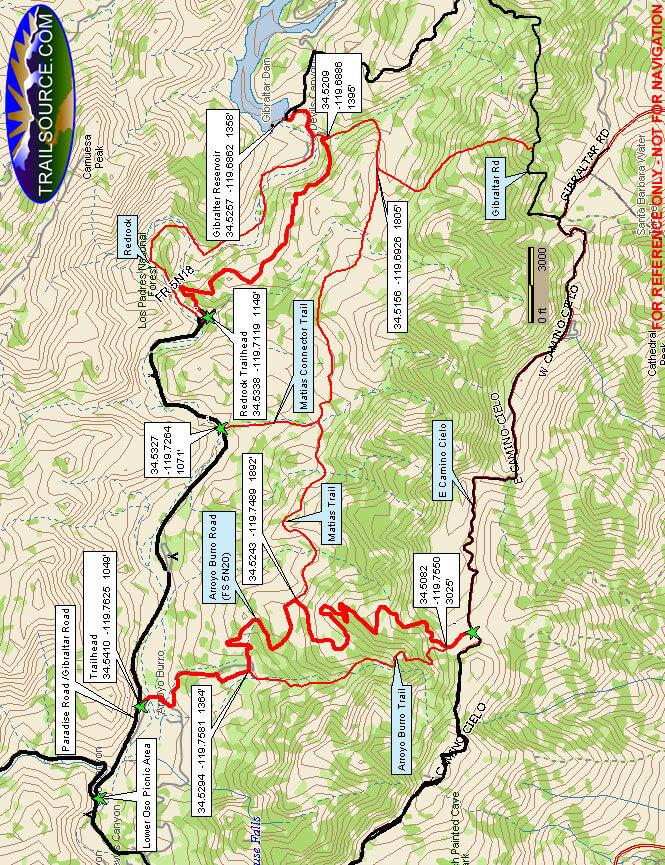 Gibraltar / Redrock Loop Hiking Map