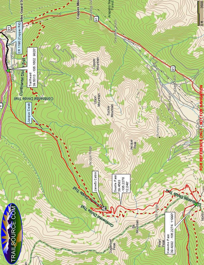 Colorado Trail - Searle / Kokomo Pass Hiking Map