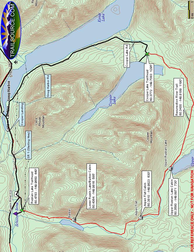 Russian Lakes Mountain Biking Map
