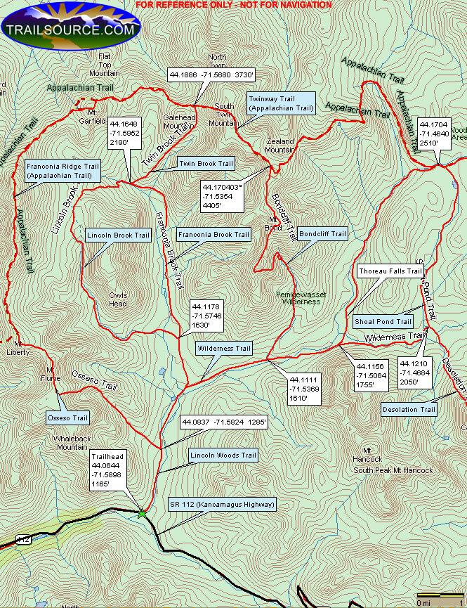 Pemigewasset Wilderness Loop Hiking Map