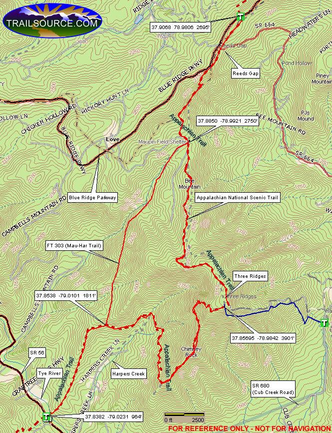 Three Ridges Hiking Map