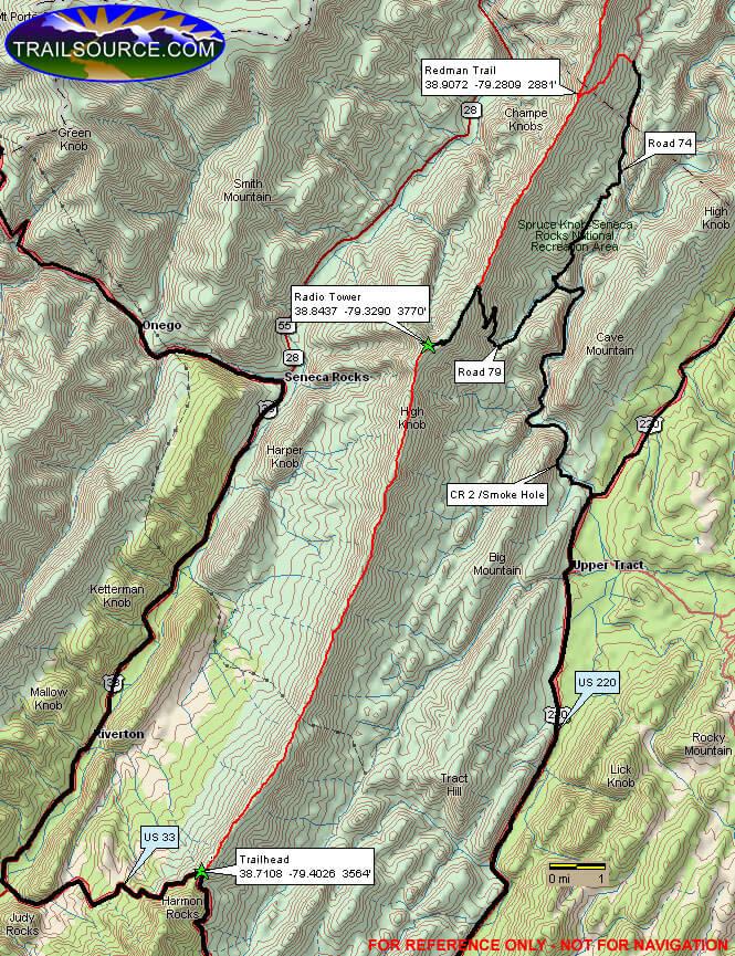 North Fork Mountain Mountain Biking Map