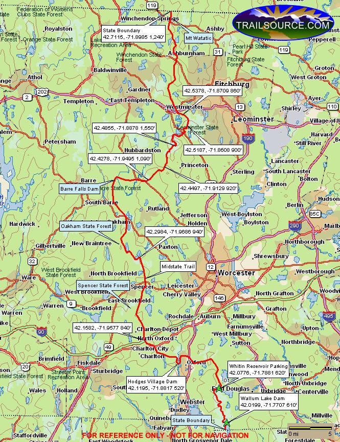 Midstate Trail Mountain Biking Map