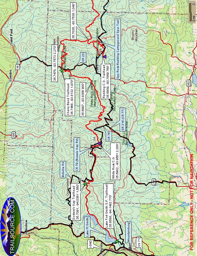 Ozark Highlands Trail - Western Hiking Map
