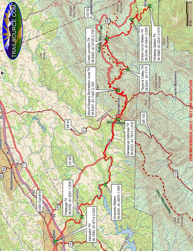 Virgina Creeper Trail Mountain Biking Map