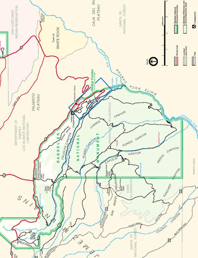 Bandelier Stone Lions Loop Hiking Map