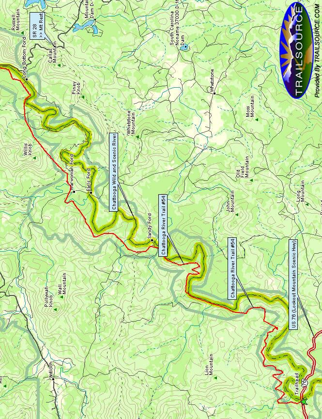 Chattooga Trail Hiking Map