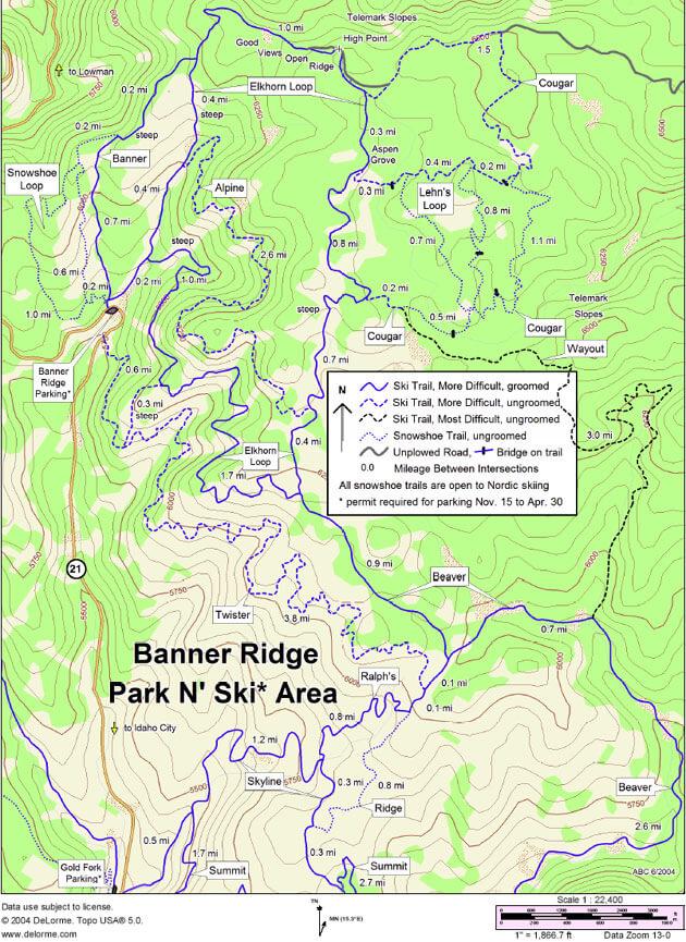 Banner Ridge Cross Country Skiing Map