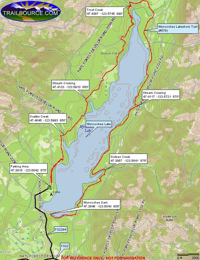 Wynoochee Lakeshore Trail Hiking Map