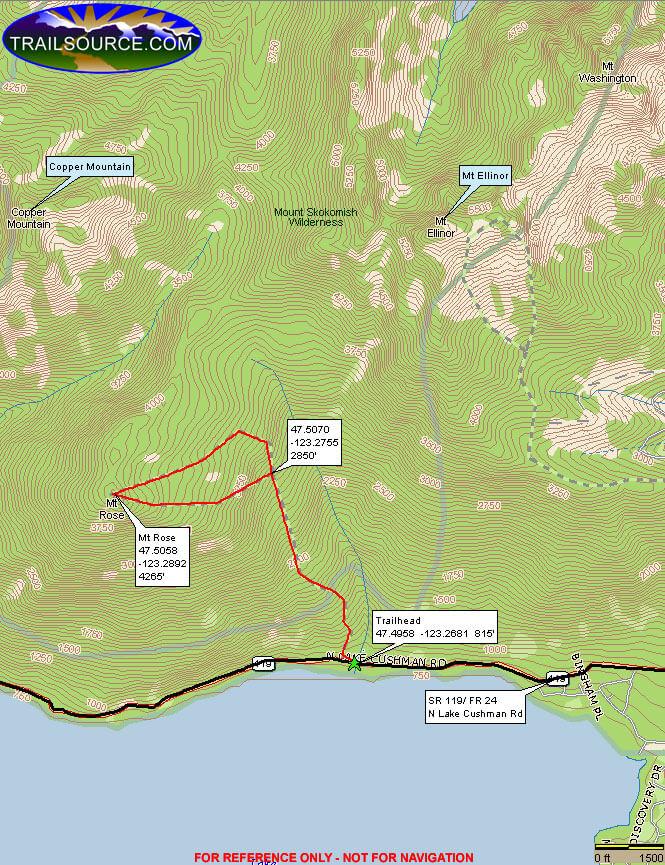 Mount Rose Trail Hiking Map