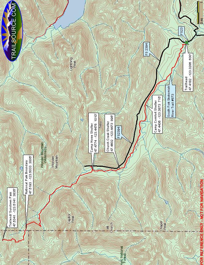 Lower South Fork Skokomish Trail Hiking Map