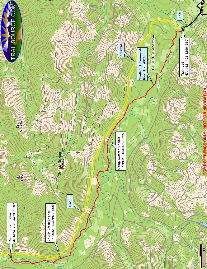 Lower South Fork Skokomish Trail Mountain Biking Map