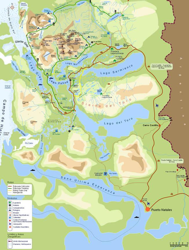Paine Circuit Loop Hiking Map