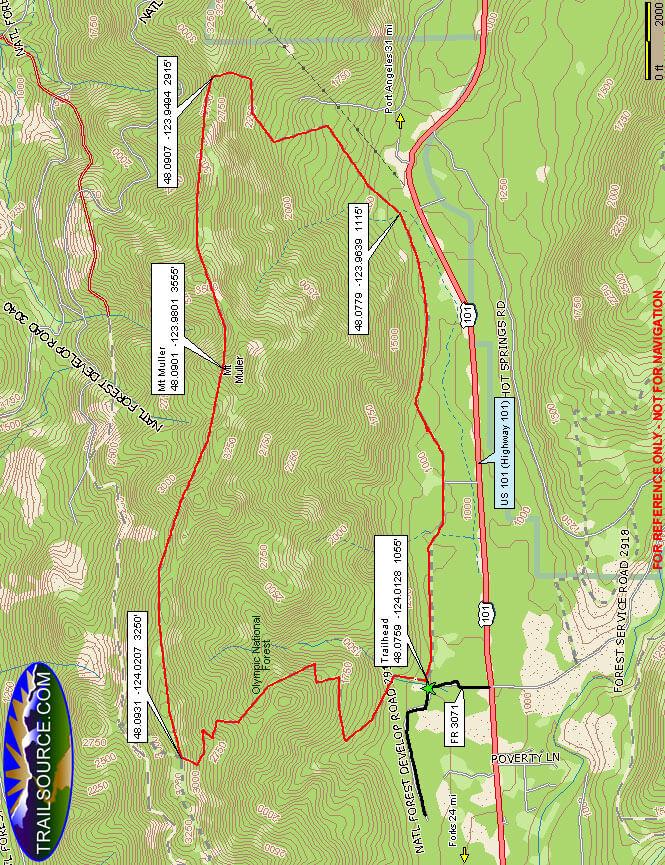 Mount Muller Trail Hiking Map