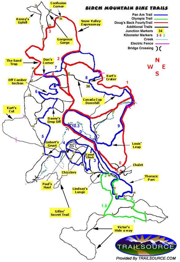 Birch Mountain Bike Area Mountain Biking Map