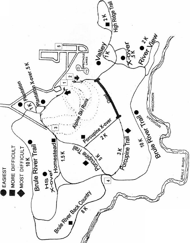 Ski Brule Cross Country Skiing Map
