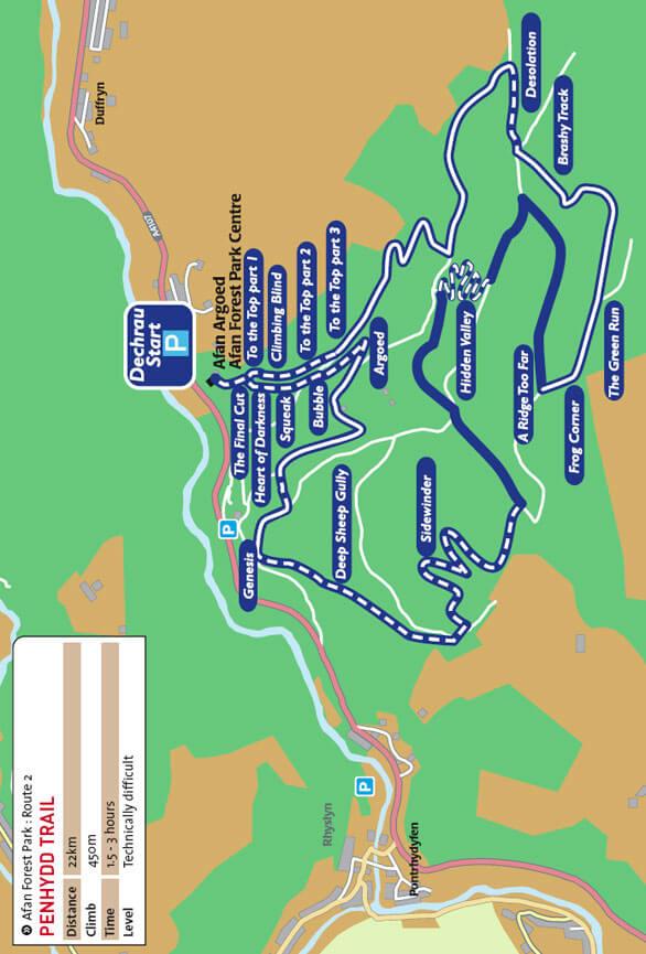 Llwybr Penhydd Route Mountain Biking Map