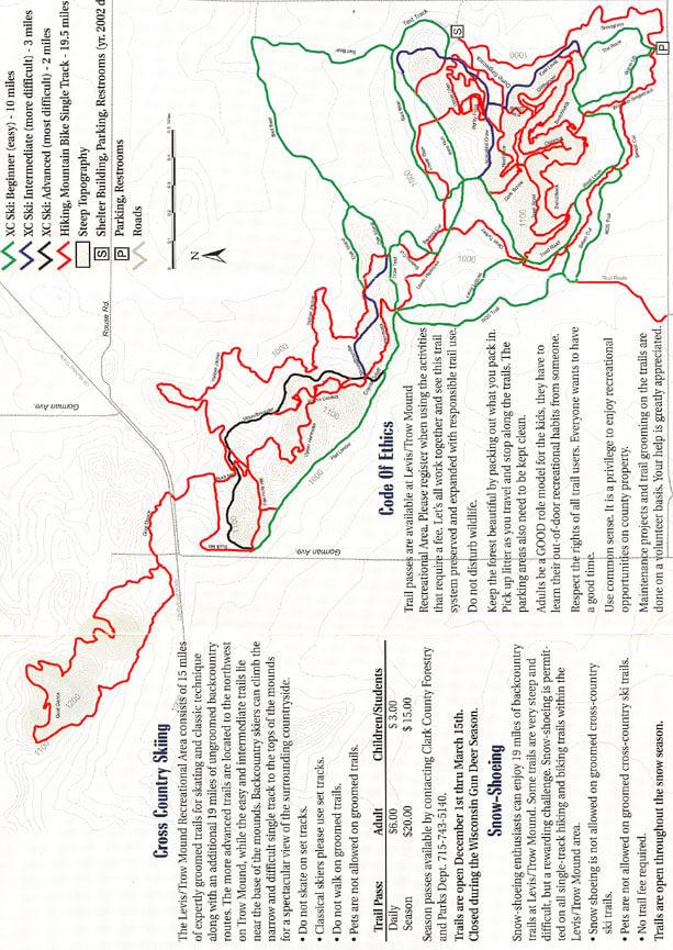 Levis Trow Mound Trail Mountain Biking Map