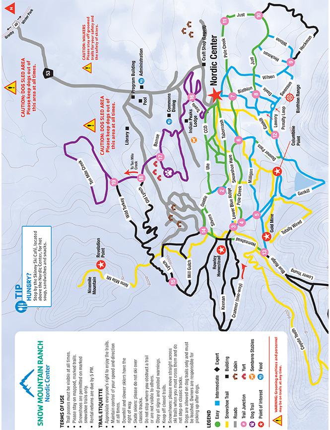 Snow Mountain Ranch Nordic Center Cross Country Skiing Map