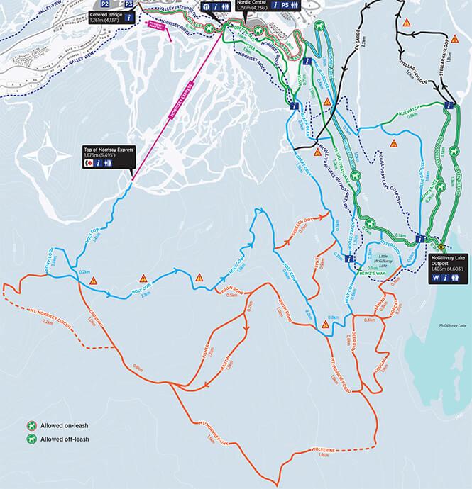 Sun Peaks Nordic Cross Country Skiing Map