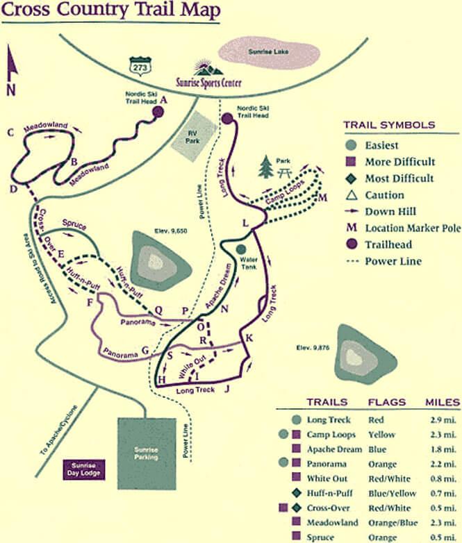 Sunrise Park Resort Cross Country Skiing Map