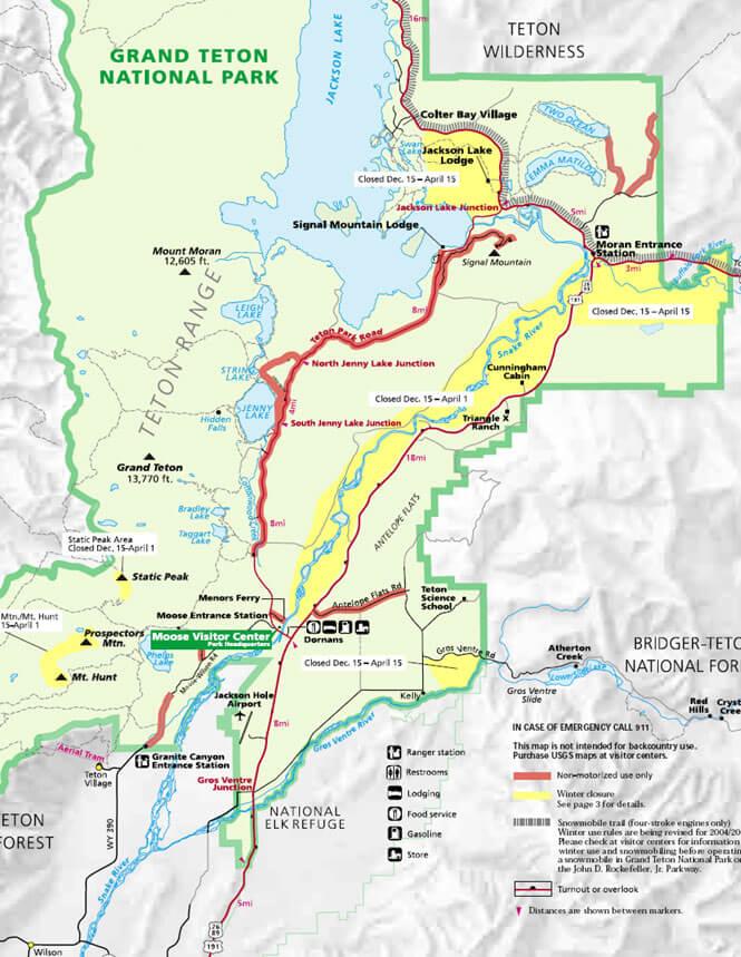 Moose-Wilson Road Cross Country Skiing Map