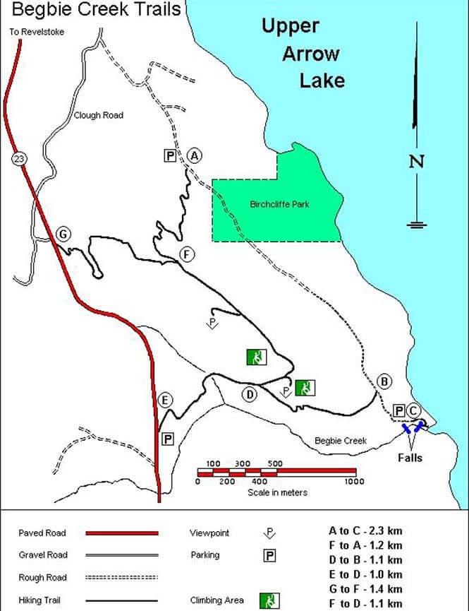 Begbie Creek Mountain Biking Map