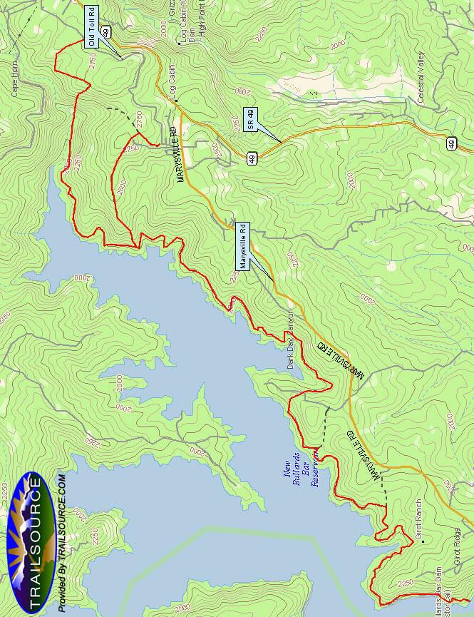 Bullards Bar Loop Trail Mountain Biking Map