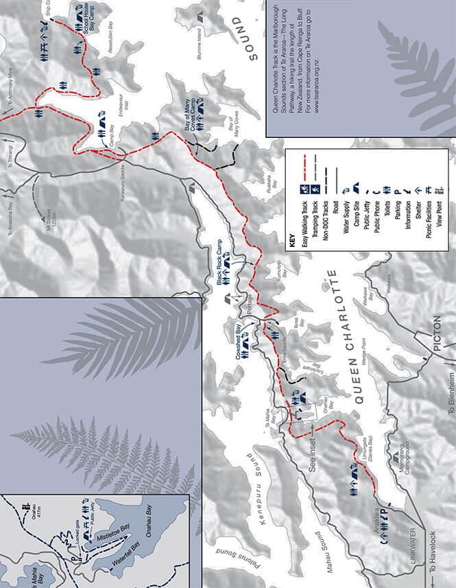 Queen Charlotte Track Mountain Biking Map