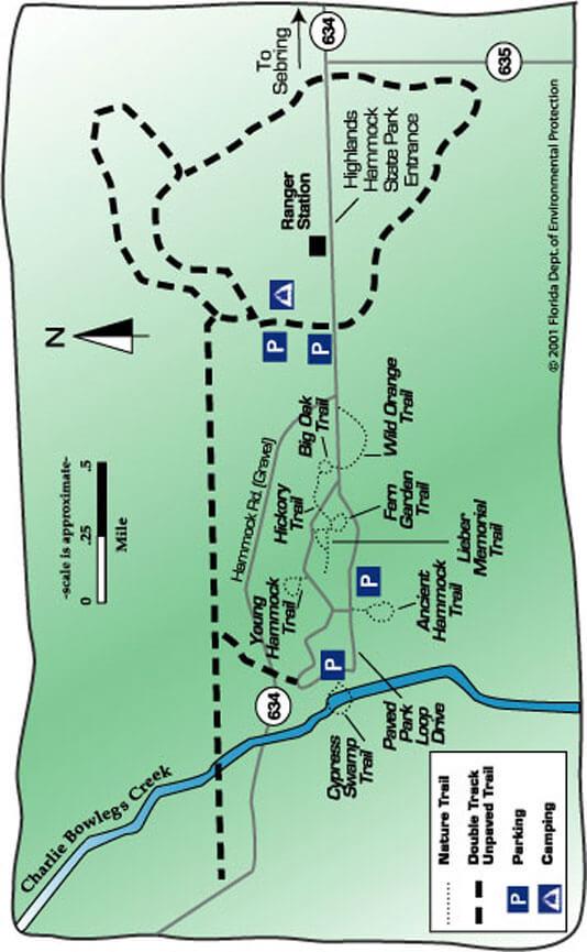 Highlands Hammock State Park Mountain Biking Map