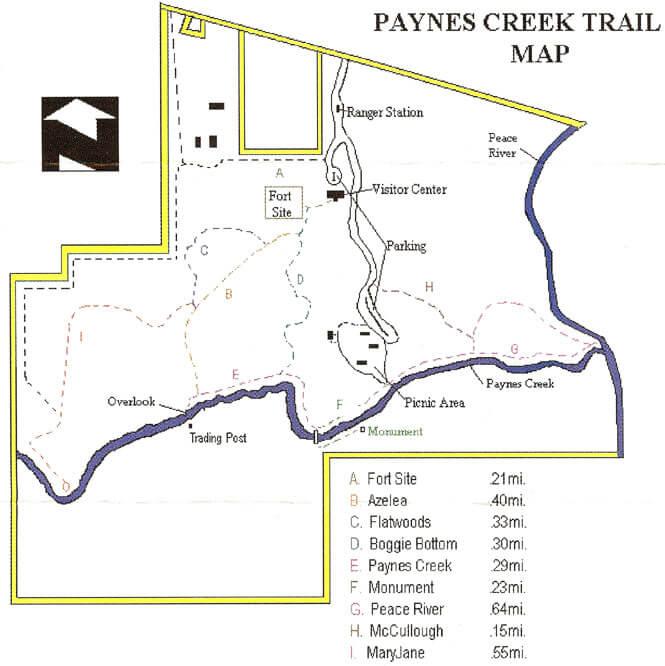Paynes Creek State Park Hiking Map