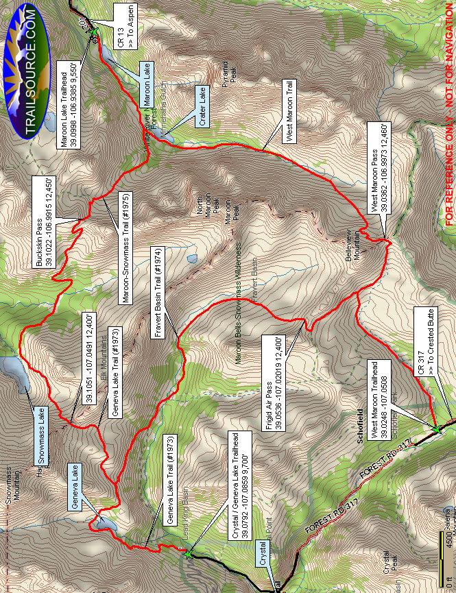 Maroon Bells Loop Hiking Map