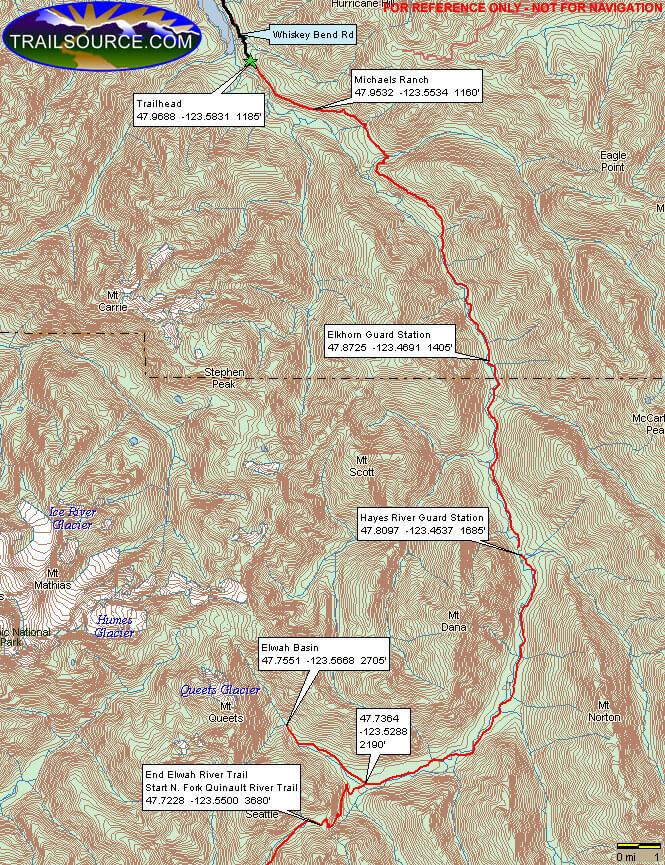 Elwha Trail Hiking Map