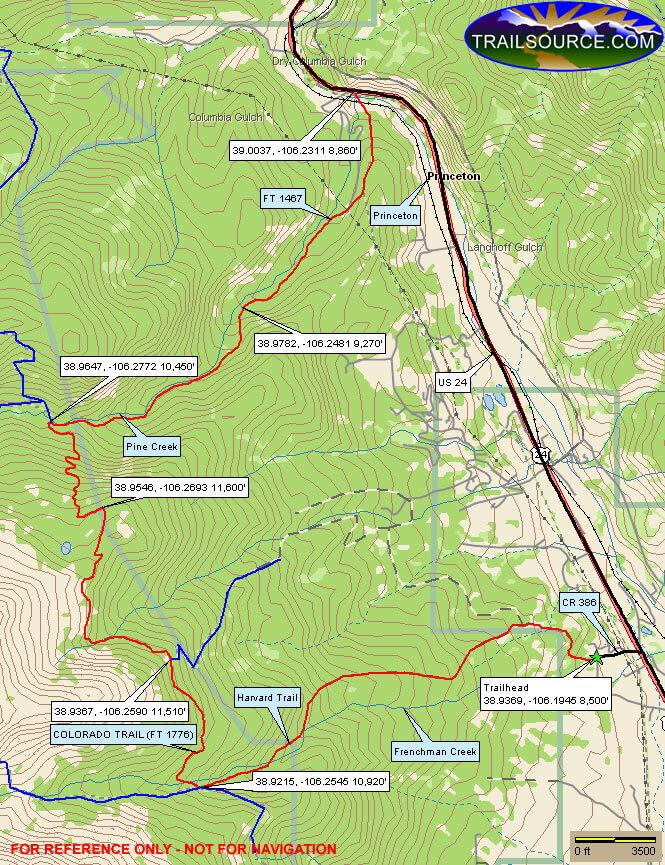 Collegiate Peak Wilderness Hiking Map