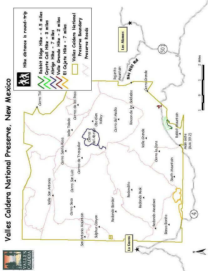 Valles Caldera National Preserve Hiking Map