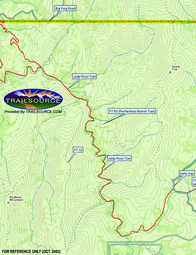 Jacks River Trail Hiking Map