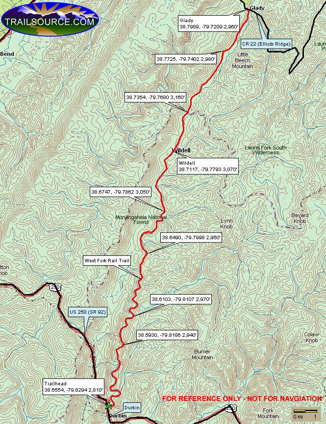 West Fork Trail Mountain Biking Map