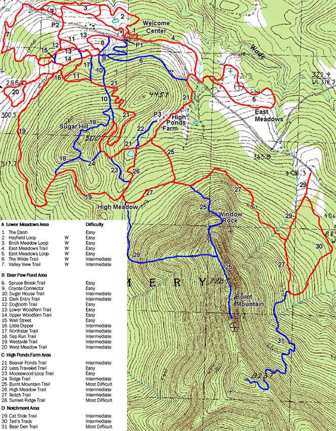 Hazens Notch Cross Country Skiing Map