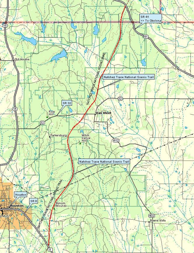 Natchez Trace Trail Hiking Map