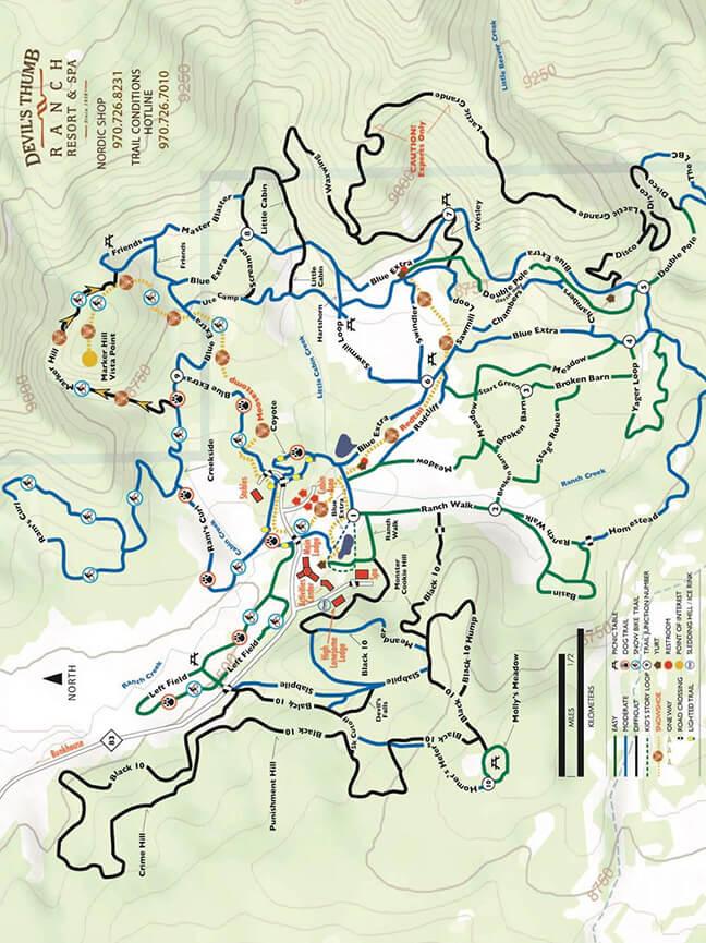 Devils Thumb Ranch Cross Country Skiing Map