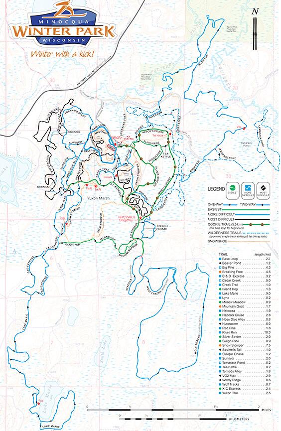 Minocqua Winter Park Cross Country Skiing Map