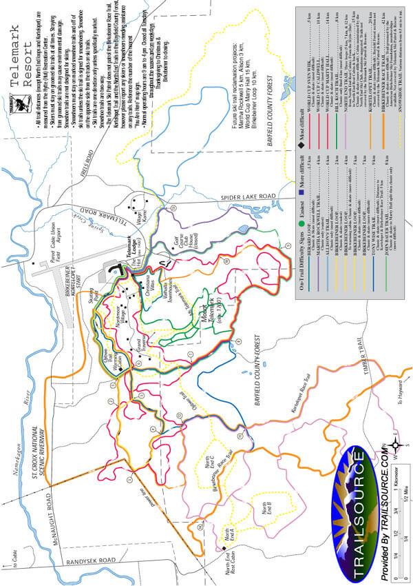 Telemark Ski Area Cross Country Skiing Map