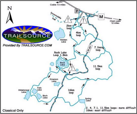 Rock Lake Trail Cross Country Skiing Map